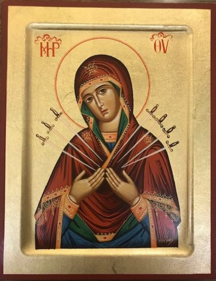 The Virgin Mary with Seven Swords (red boarder)  Παναγία Επτά Σπαθιά (κόκκινο περίγραμμα)