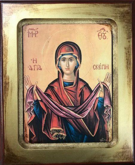 The Holy Skepi or Protection Veil of the Theotokos      Η σκεπη της Θεοτόκου